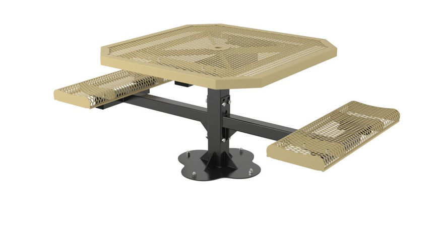 Picture of 46 in. Octagon Roll Ped Table - 2 Seats Surface Mount