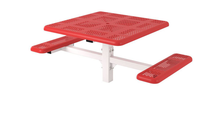 Picture of 46 in. Square Perforated Pedestal In Ground Table - 2 Seat