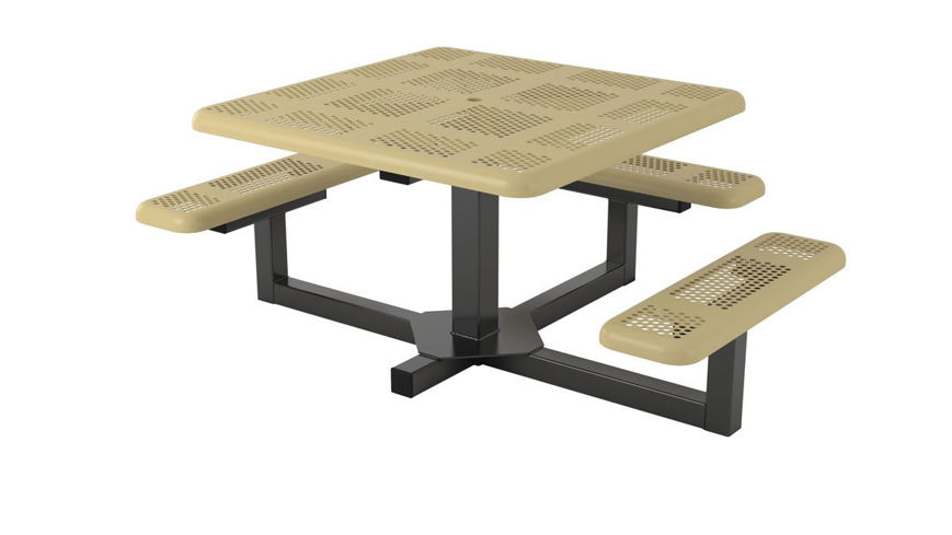 Picture of 46 in. Square Perforated Pedestal Portable Table - 3 Seat