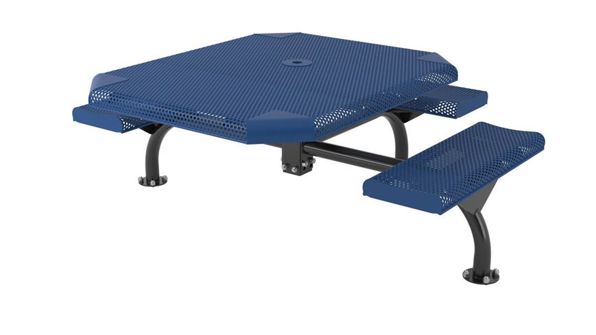 Picture of 46 in. Octagonal Perforated Web Portable/Surface Mount Table - 3 Seat ADA