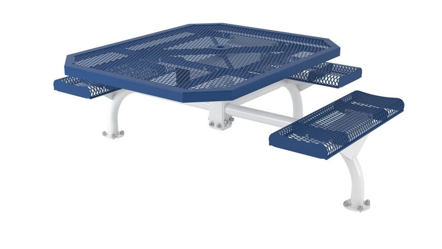 Picture of 46 in. Octagon Roll Web Table - 3 Seats Surface Mount ADA