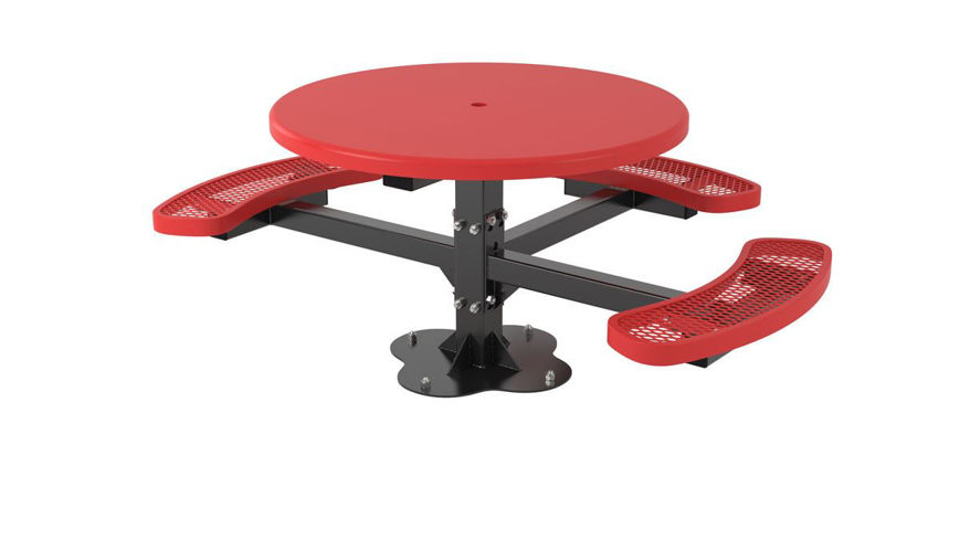 Picture of 46 in. Round Solid Top Pedestal Surface Mount Table - 3 Seat