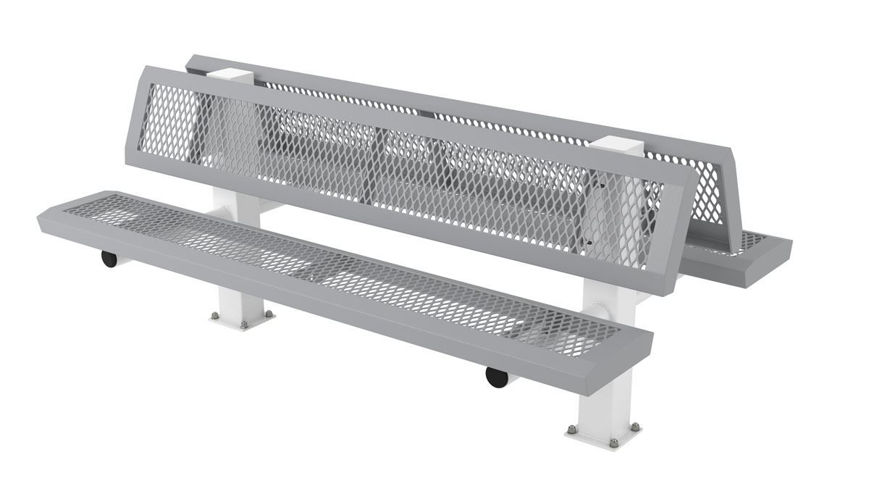 Picture of 6 ft. Doubled Infinity 4 in. Square Legs Surface Mount Bench w/ Back