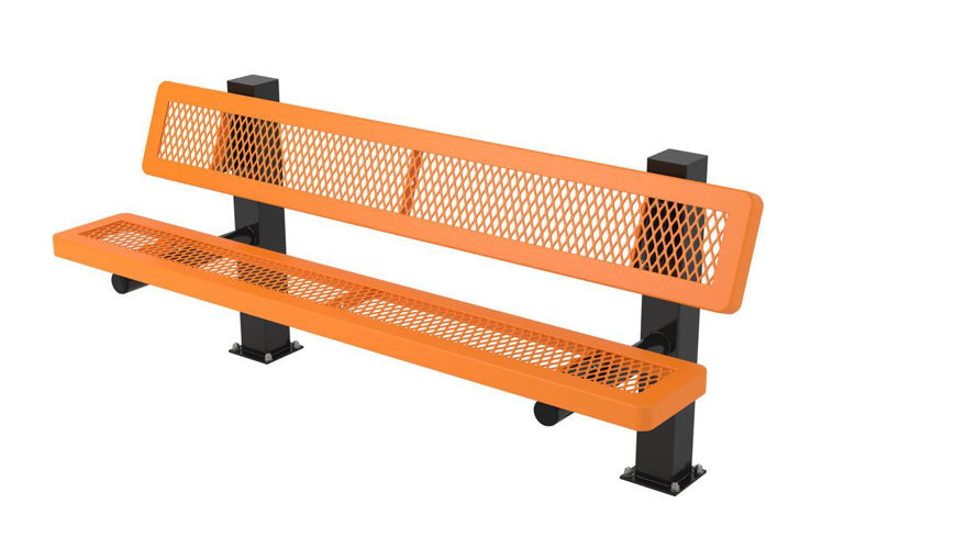 Picture of 6ft. Regal Style Bench with Back 4in. Square Surface Mount Design