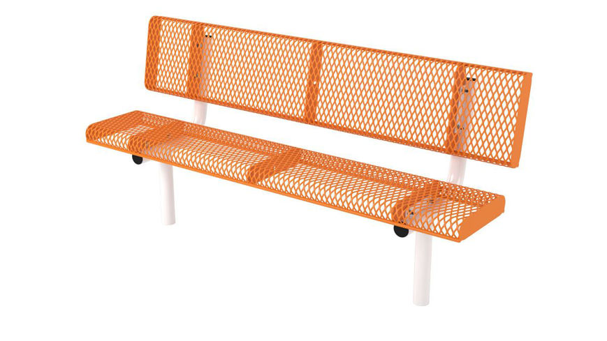 Picture of 6ft. Rolled Edge Bench wit Back In Ground Mount Design
