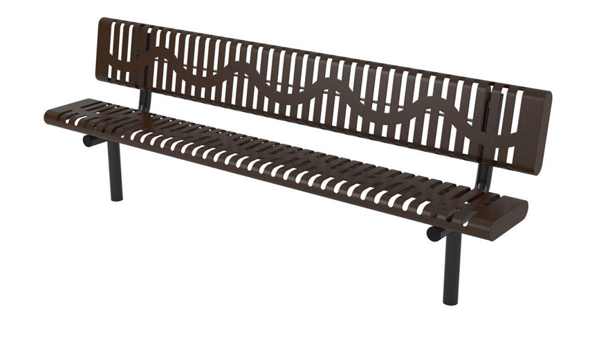 Picture of 8ft. Classic Rolled Style Bench with Back In Ground Mount