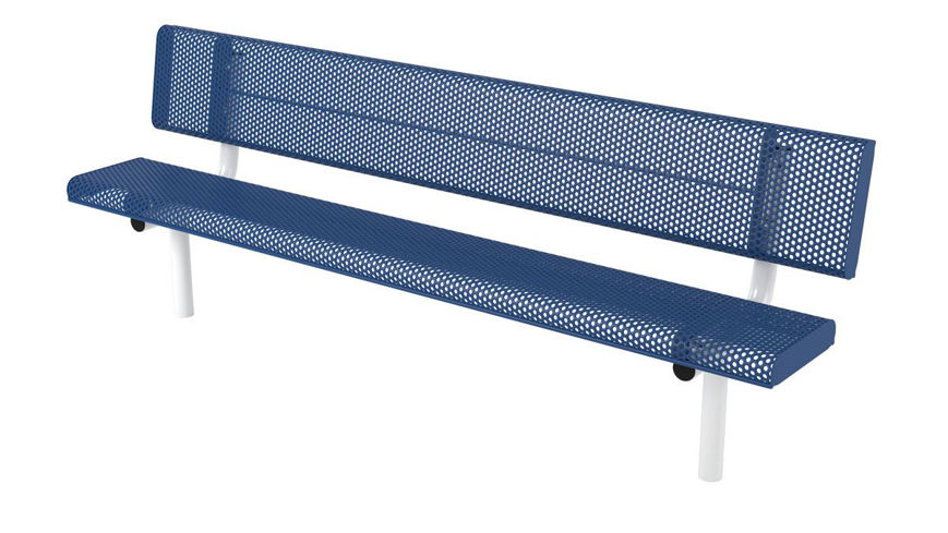 Picture of 8ft. Innovated Rolled Edge Style Bench with Back In Ground Mount