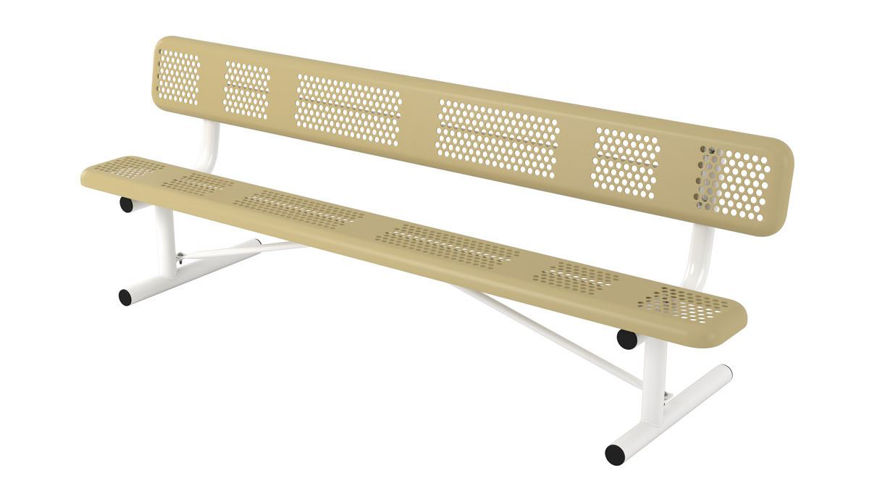 Picture of 8ft. Perforated Style Bench with Back Portable Design