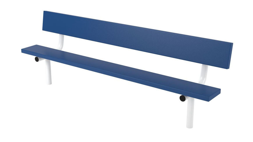 Picture of 8ft. Plasti-Plank Style Bench with Back In Ground Mount