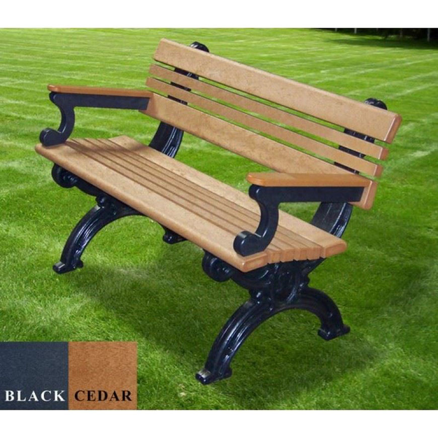 Picture of Cambridge 4' Backed Plastic Bench with arms