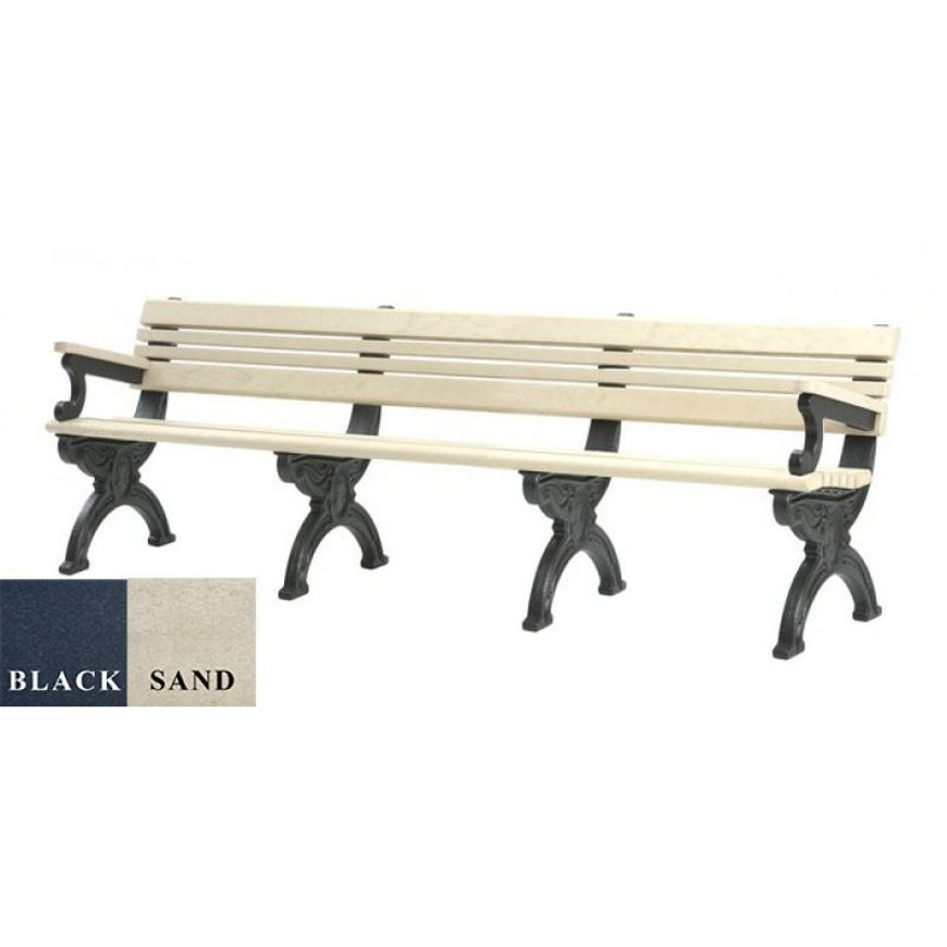 Picture of Cambridge 8' Backed Plastic Bench with arms