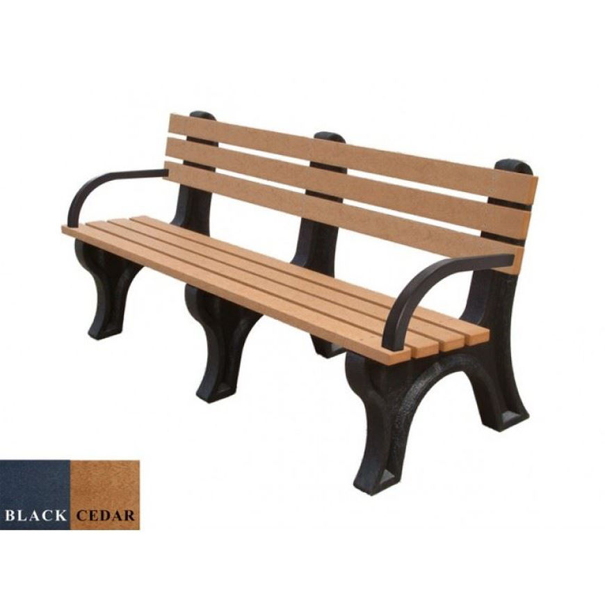 Picture of Economizer 6' Backed Plastic Bench with arms