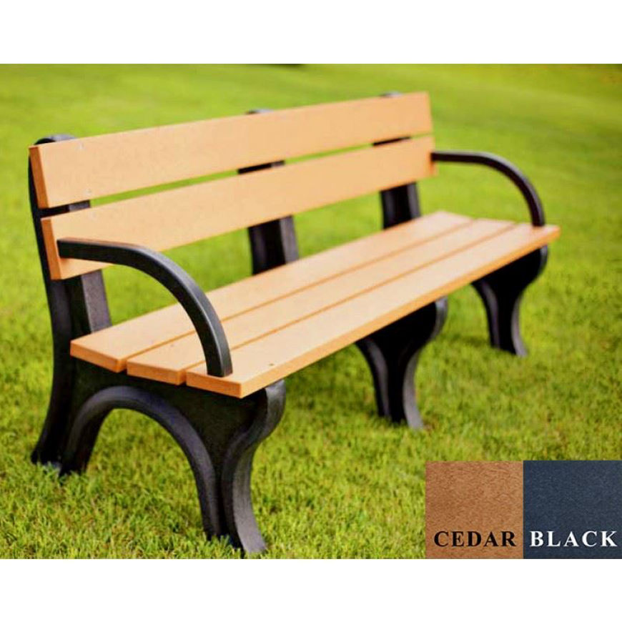 Picture of Economizer Traditional 6' Backed Plastic Bench with arms