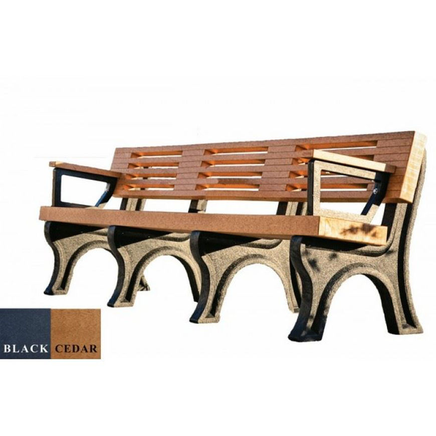 Picture of Elite 8' Backed Plastic Bench With arms