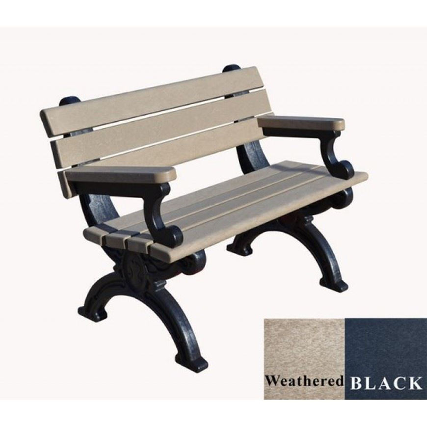 Picture of Silhouette 4' Backed Plastic Bench with arms