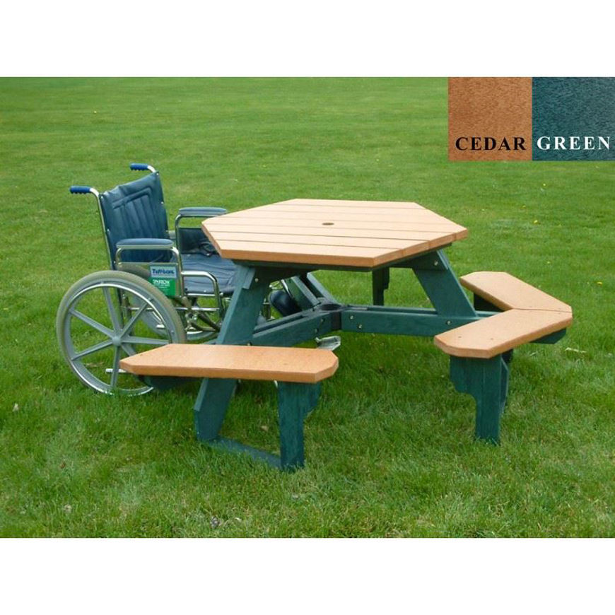 Picture of Open Hexagon Wheelchair Accessible Plastic Table