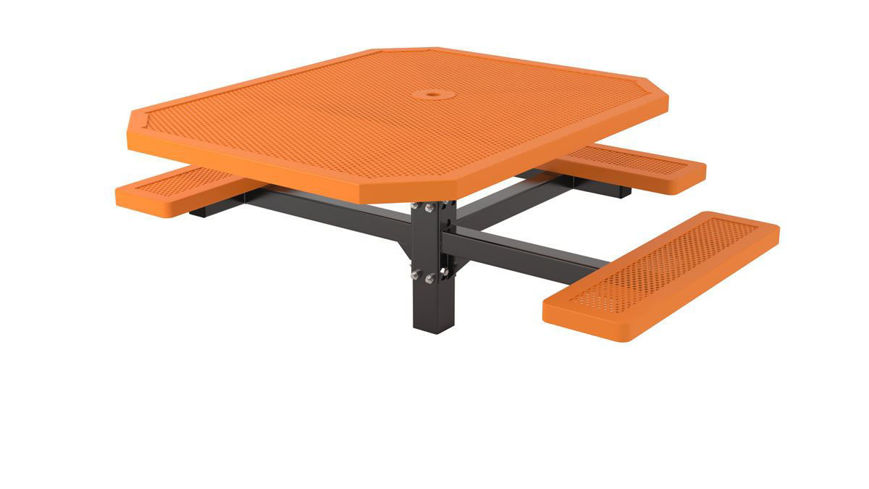 Picture of 46 in. Octagonal Innovated Pedestal In Ground ADA Table - 3 Seat